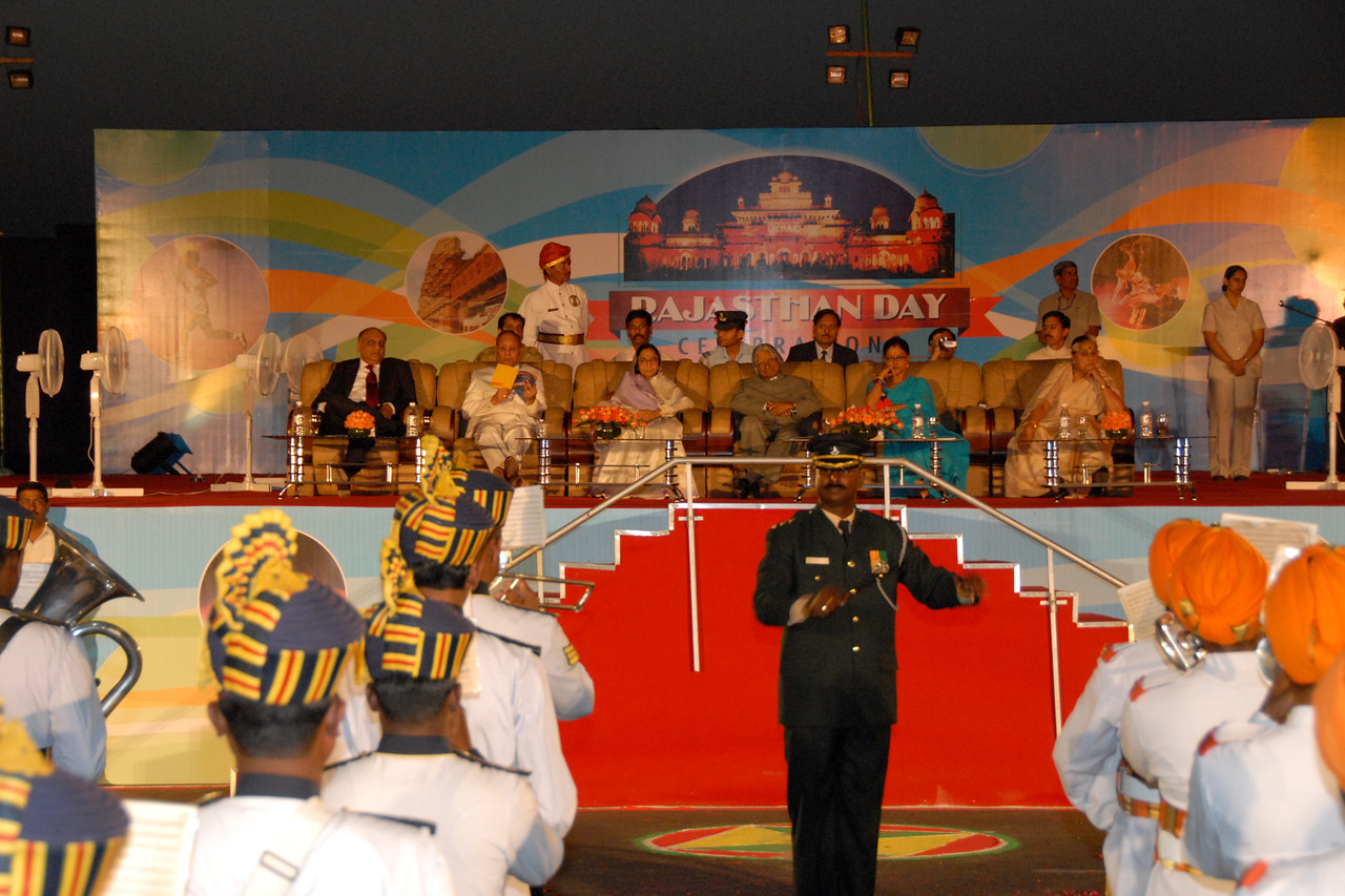 President Dr. APJ Abdul Kalam with spouce along with Chief Minister of Rajasthan Ms. Vasundhara Raje and other dignitaries at Rajasthan Diwas, Jaipur.<br /> <br /> Music. dance and cultural performances are held at Rajasthan Diwas. Every year in the month of March, Rajasthan celebrates its foundation day. Rajasthan Diwas is the day of the unification of erstwhile princely states and the state of Rajasthan. Organized by the Rajasthan Tourism Department, the festival features traditional and rural sports like kho-kho, camel cart races and elephant polo. 'Run for Rajasthan' is the highlight of the Rajashtan Diwas in which 32 torches are lit and brought to Jaipur by runners. As part of the festivities, local bazaars of Jaipur remain open late into the night and it offer interesting local textiles and handicrafts.
