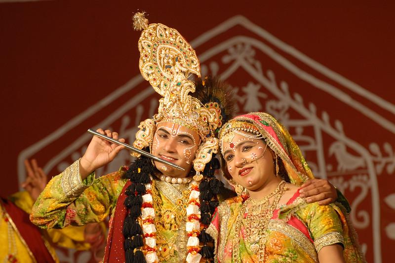 Dancers perform Krishna Leela (Lord Krishna and Radha's dance) in the open theatre at Suraj Kund Mela 2008 held in Haryana (outskirts of Delhi), North India. The Suraj Kund Mela is an annual fair held near Delhi. Folk dances, handicrafts and a lot of fun.