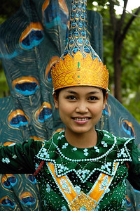 Young Cambodian girl dressed as a peacock about to perform a dance and display areobics and dance forms at the Heritage Village Centre in Siem Reap, Cambodia.