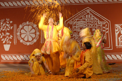 Dancers perform Krishna Leela (Lord Krishna and Radha's dance) in the open theatre at Suraj Kund Mela 2008 held in Haryana (outskirts of Delhi), North India. The Suraj Kund Mela is an annual fair held near Delhi. Folk dances, handicrafts and a lot of fun.