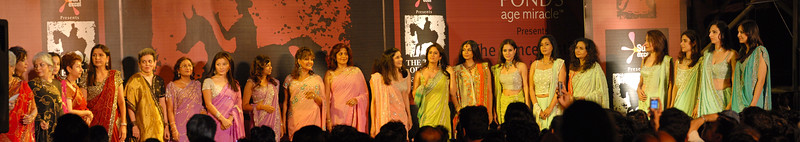 Panoramic image of celebrity ladies on stage after the Fashion Show at The Times of India Kala Ghoda Arts Festival 3rd to 11th Feb 2007