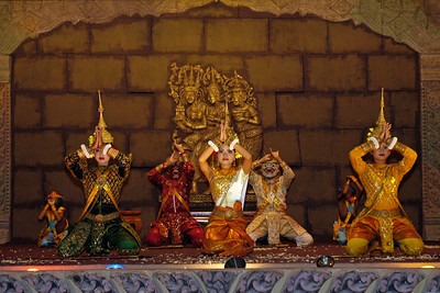 Cambodian dancers perform on stange traditional dance in Siem Reap, Cambodia.