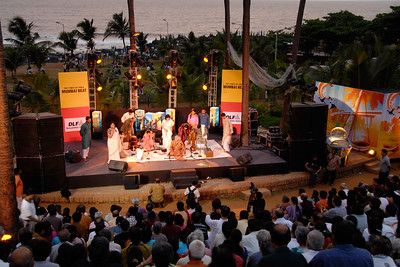 Pandit Jasraj performed at Bandra Bandstand in Mumbai (Bombay) at an event called Mumbai Beat organized by The Times of India and sponsored by DLF group.  Pandit Jasraj (January 28, 1930) is a famous Indian Classical vocalist, and the foremost exponent of the Mewati Gharana in Hindustani classical music.