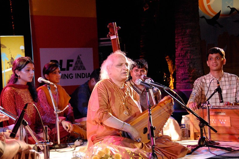 Pandit Jasraj at Bandra Bandstand in Mumbai (Bombay) at an event called Mumbai Beat organized by The Times of India and sponsored by DLF group.<br /> <br /> Pandit Jasraj (January 28, 1930) is a famous Indian Classical vocalist, and the foremost exponent of the Mewati Gharana in Hindustani classical music.