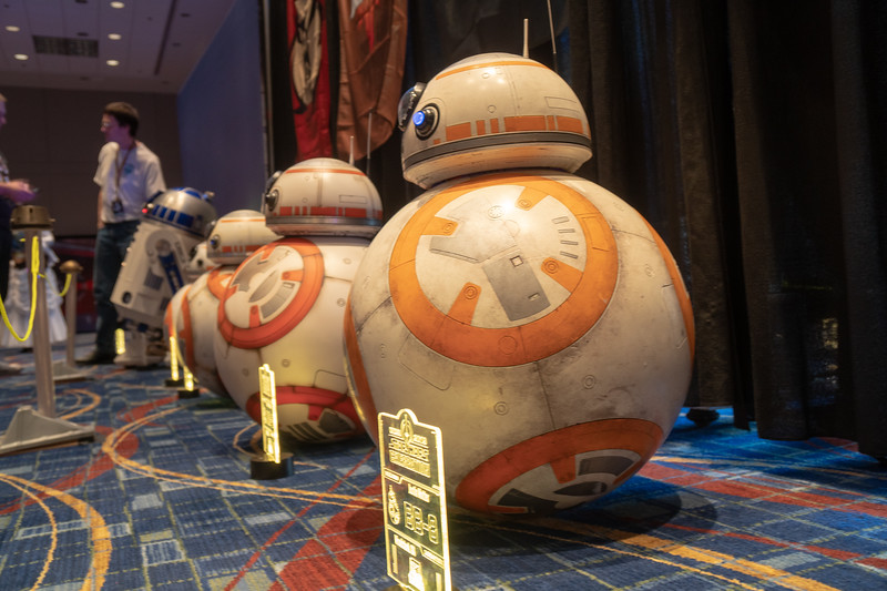 BB-8 droids on display in the Droid Builders room at Star Wars Celebration 2019 in Chicago.