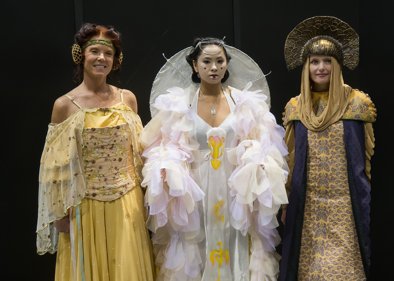 Padme Amidala: Starting from the left, the meadow picnic dress, the Celebration dress, and Padme's traveling dress. All are beautiful.