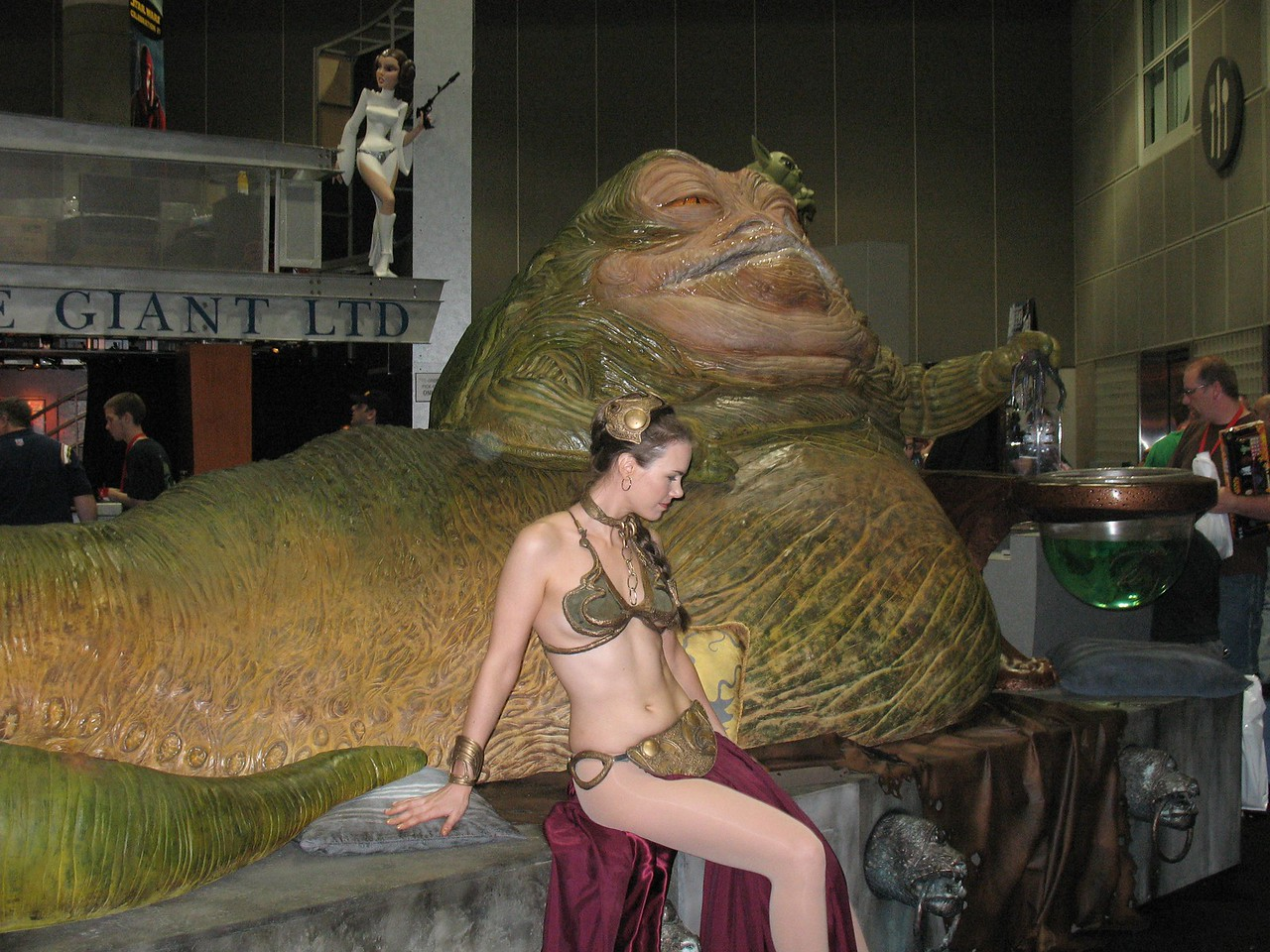 Jabba the Hut has captured Princess Leia at Celebration IV in Los Angeles, 2007