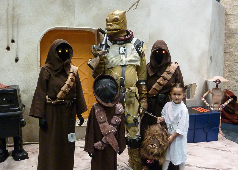 Halley and I pose as Jawas with a few small fans