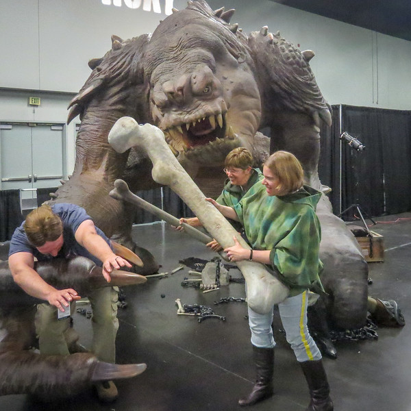 Oh no, Roxy the Rancor has Martin!  Celebration VII, 2015 in Anaheim, CA