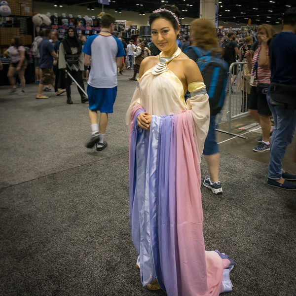 A marvelous Padme costume.  It was nice to see her and her Prequel attire.  The focus was on the new movie, The Last Jedi