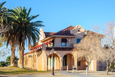 The old Union Pacific depot at Kelso, now the visitors center for Mojave National Preserve, glows in the light of a crisp January morning.