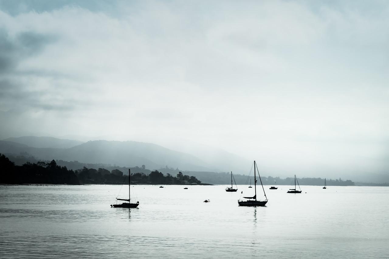 Sailboats at anchor near Stearns Wharf