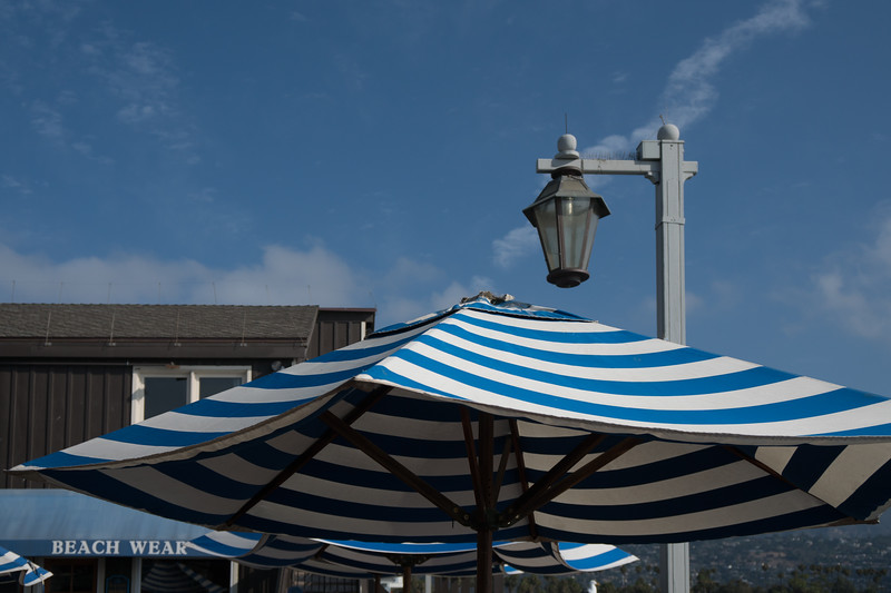 Close-up of cafe umbrella on Stearns Wharf
