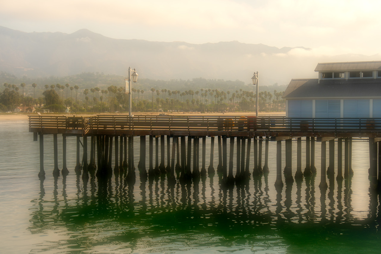 A portion of Stearns Wharf in soft light of dawn
