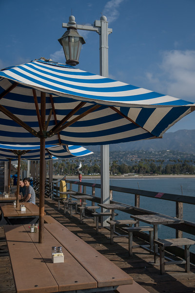Stearns Wharf outdoor dining area with umbrellas