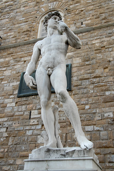 A copy of Michelangelo's famous statue David stands in front of Palazzo Vecchio in Florence, Italy.