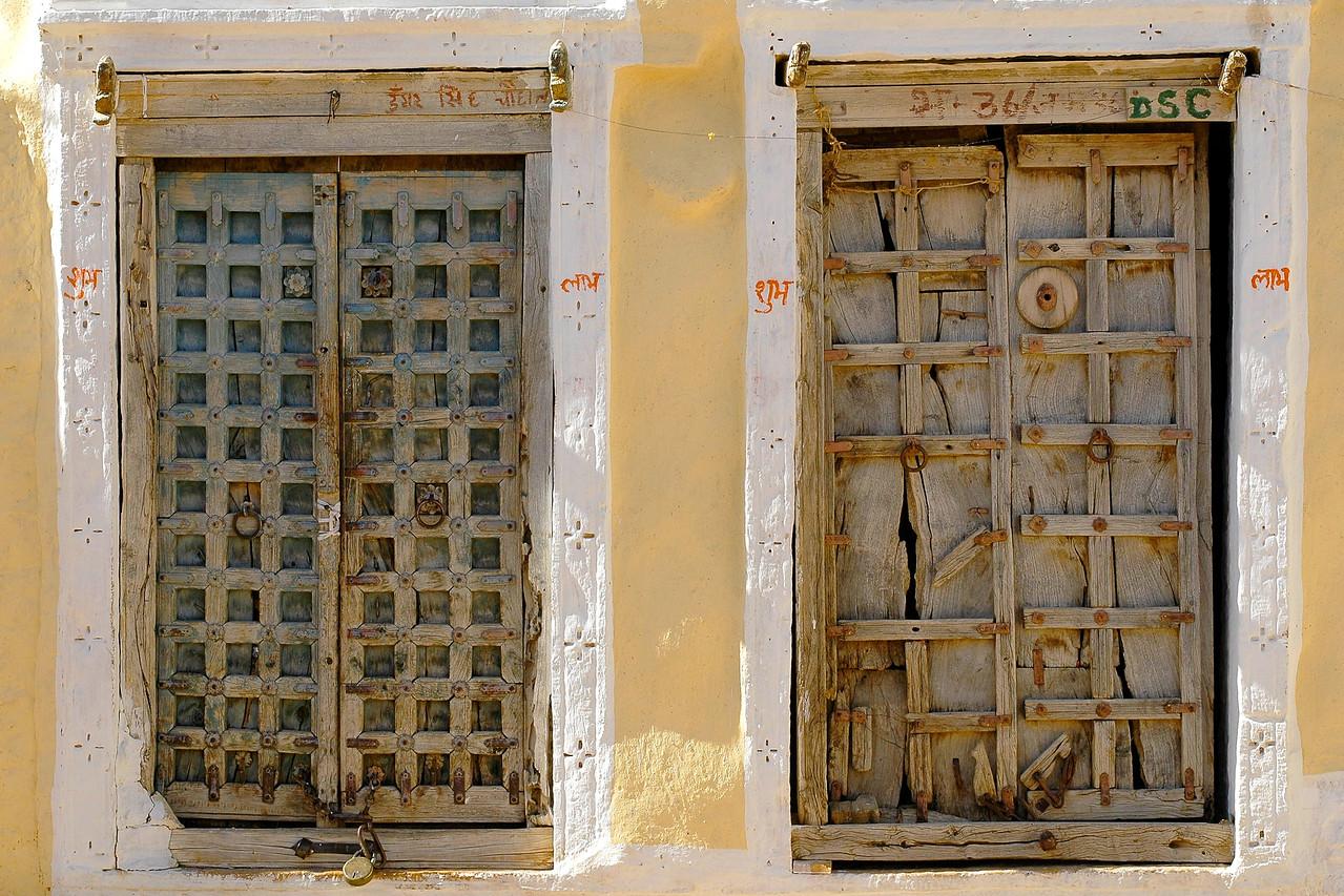 Old wooden doors in Rajasthan.