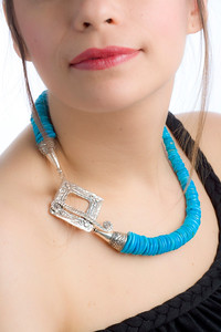 Jewelery Designs by Zachary Bloom, Fabiana Bloom, model.