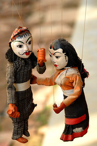 Hand made puppets on strings on display in Kathmandu, Nepal