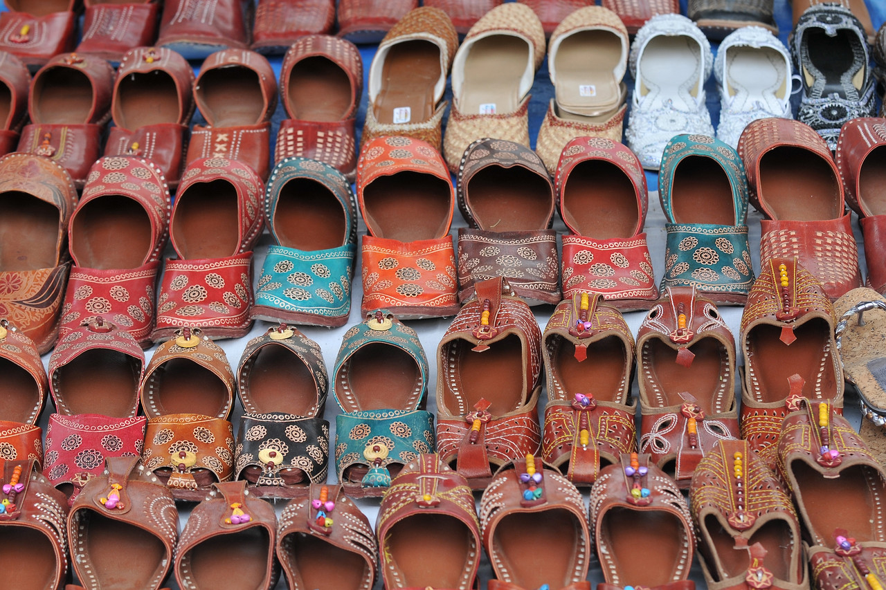 Hand made slippers being sold at Suraj Kund Mela 2008, Haryana, North India. The Suraj Kund Mela is an annual fair held near Delhi. Folk dances, handicrafts and a lot of fun.