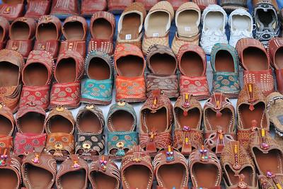 Hand made slippers being sold at Suraj Kund Mela 2008, Haryana, North India. The Suraj Kund Mela is an annual fair held near Delhi. Folk dances, handicrafts and a lot of fun.