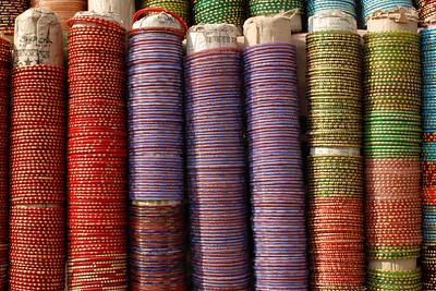 Glass bangles on sale in a village mela (fair) in a village near Nagpur, Maharashtra, India.
