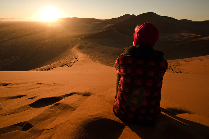 10. Sossusvlei, Namibia: T reflects on the adventure, looking to the east at first light of the fifth day, and considers the path ahead. (Captured 09/01/13)