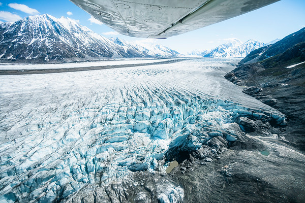 Ski Plane Flying Over The World's Largest Non-polar Icefield In Kluane NP, Yukon 2018