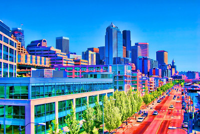 A colorful and playful look at Seattle's waterfront.