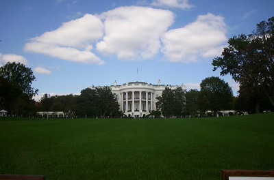 Clouds over the White House. I dug up this photo I took of the White House in 2001. The clouds then seem to portend hard days ahead.