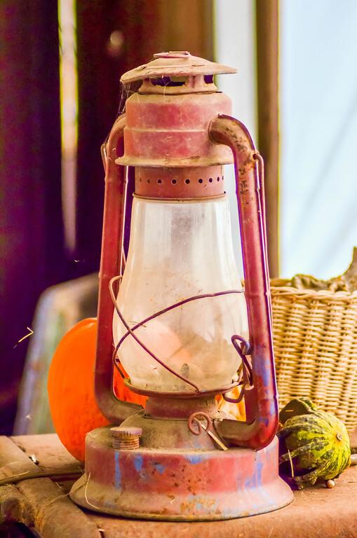 rustic old oil lantern