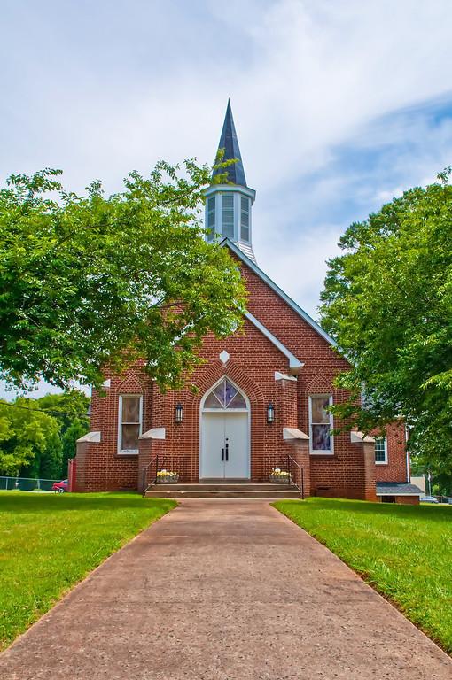 exterior of a brick church