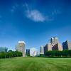 saint louis skyline on a sunny day with blue sky