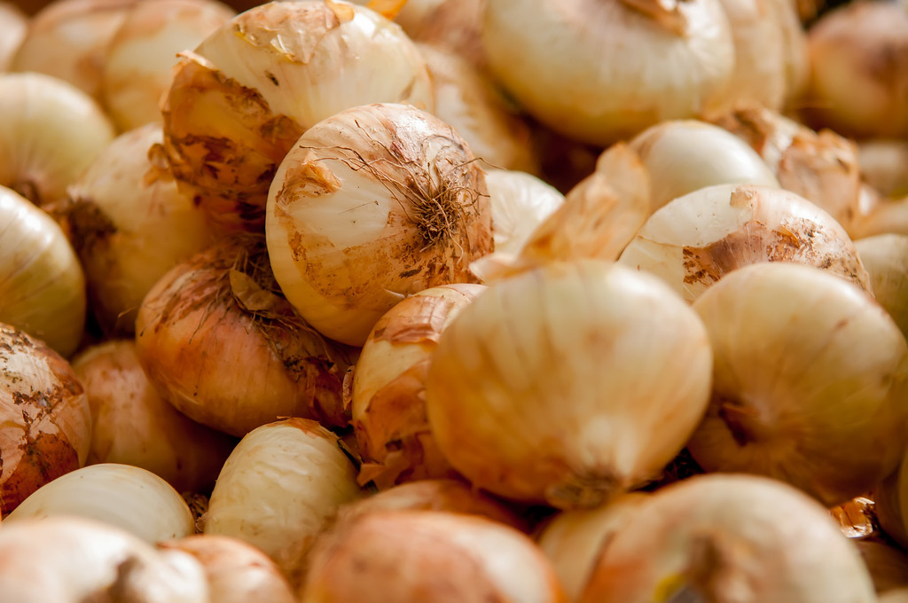 onions on farm stand display