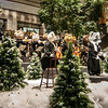 robotic bears playing at concert in the mall during christmas