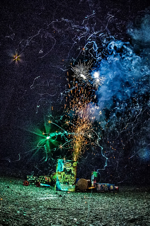 fireworks at home in a driveway