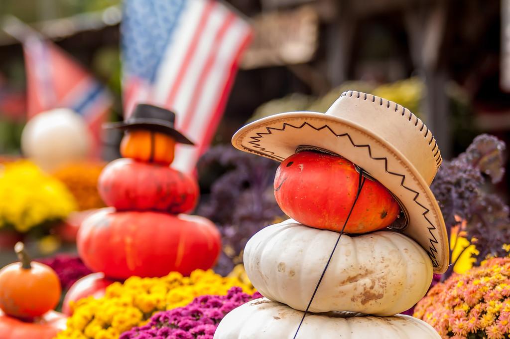 adorable cowboy pumpkin figures made from pumpkins