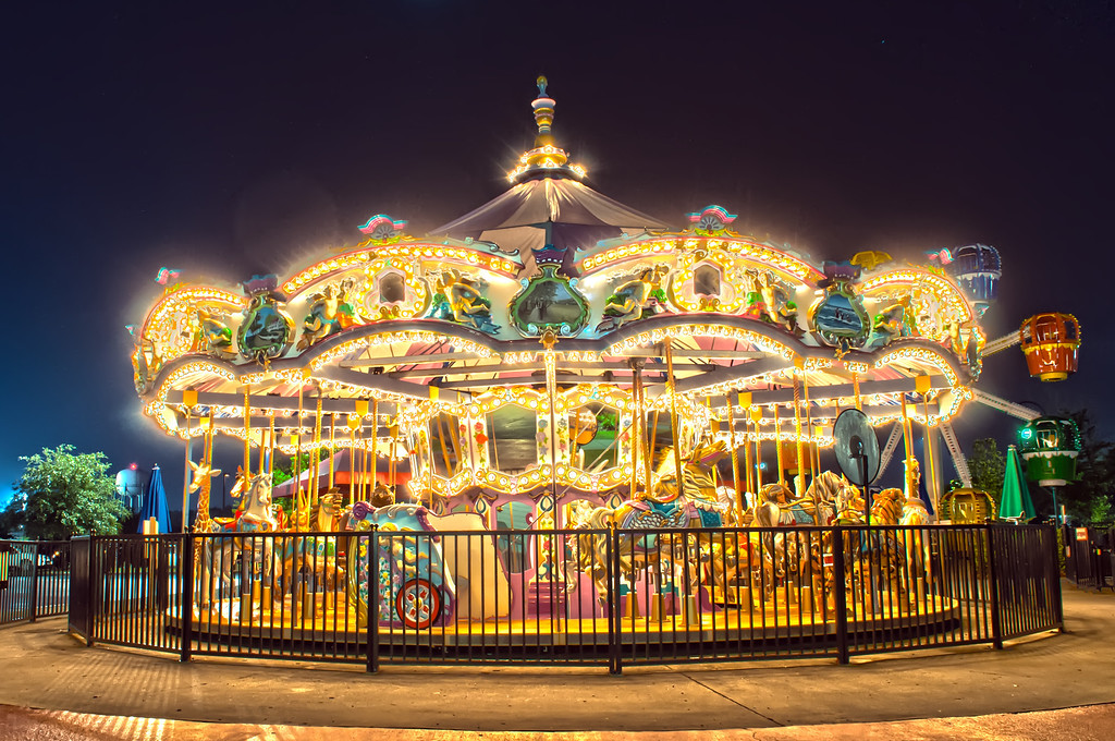 View of a carousel at night,