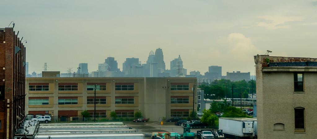 cincinnati skyline on rainy day