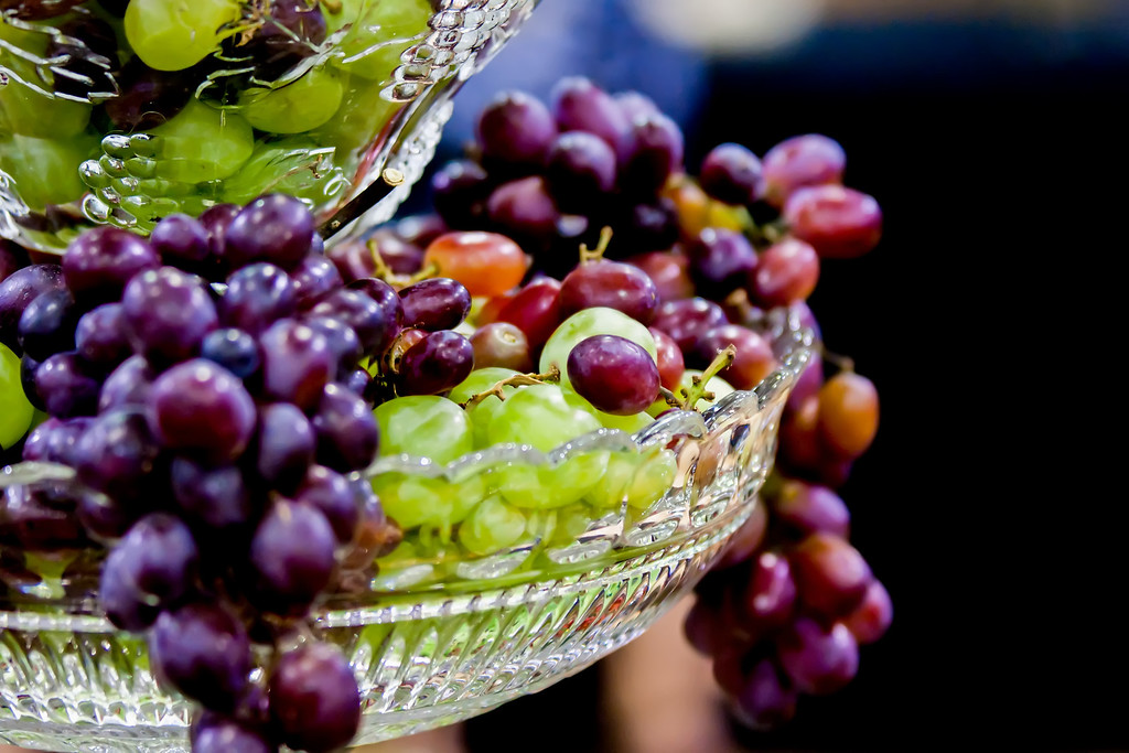 grapes hanging out from crystal dish