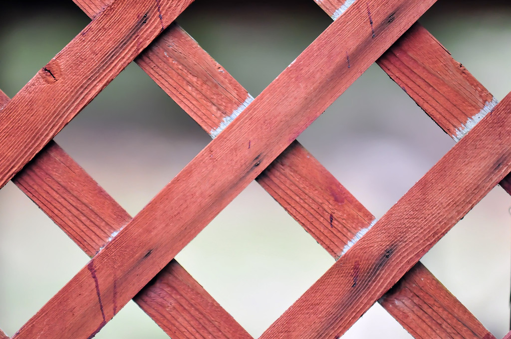 red lattice fence detail