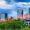 Downtown of Charlotte  North Carolina skyline with dramatic sky