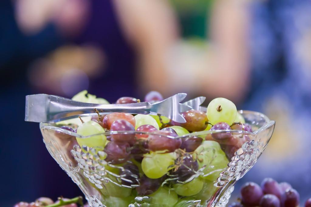 grapes in crystal dish