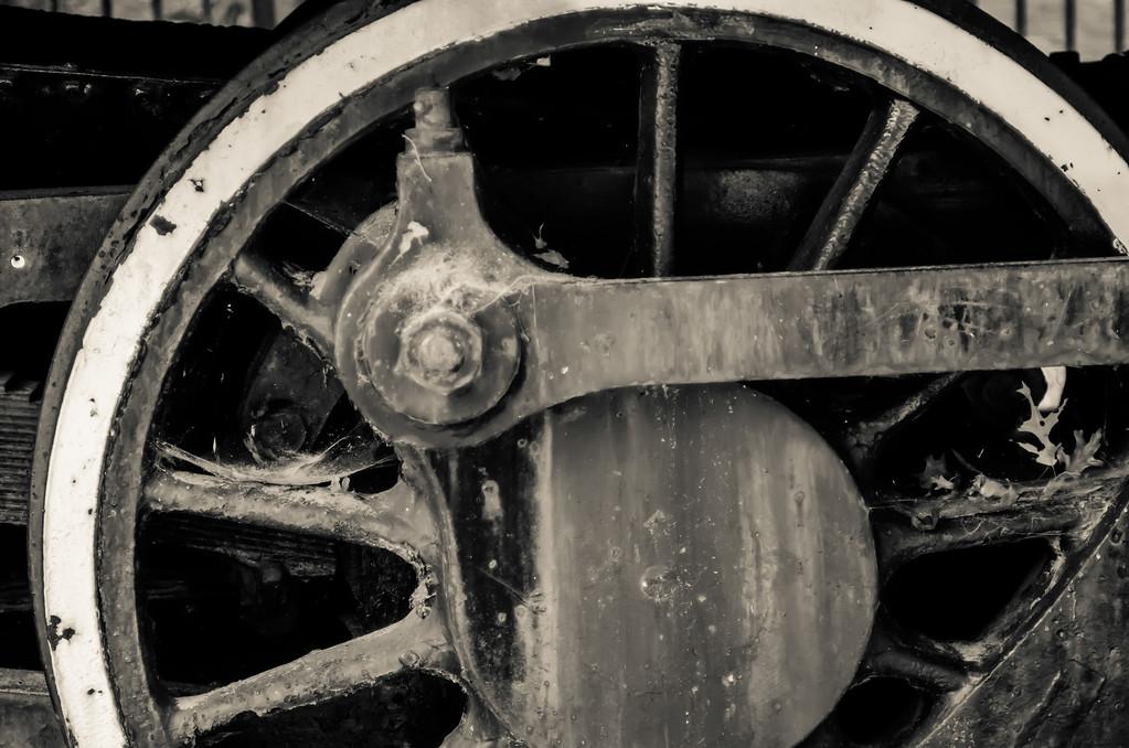 old black locomotive engine details