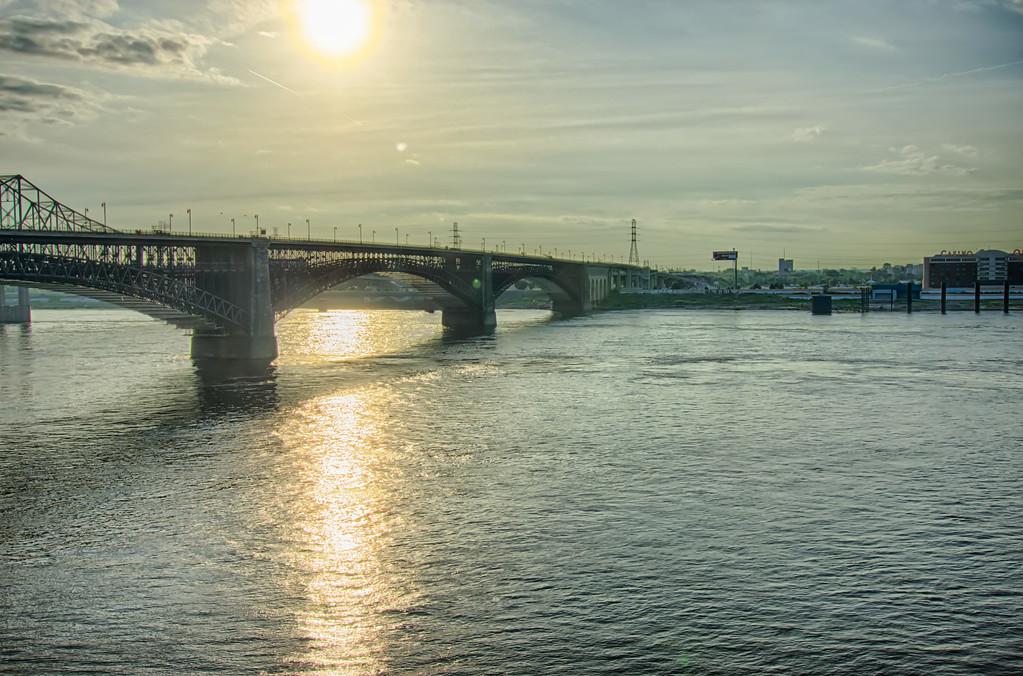 subway and road bridge in st louis mo