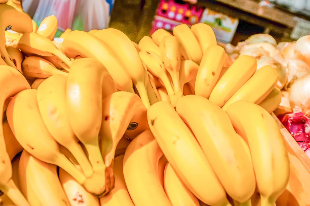 Bunch Of Ripe Bananas At A Street Market
