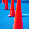 Traffic cones in empty parking space