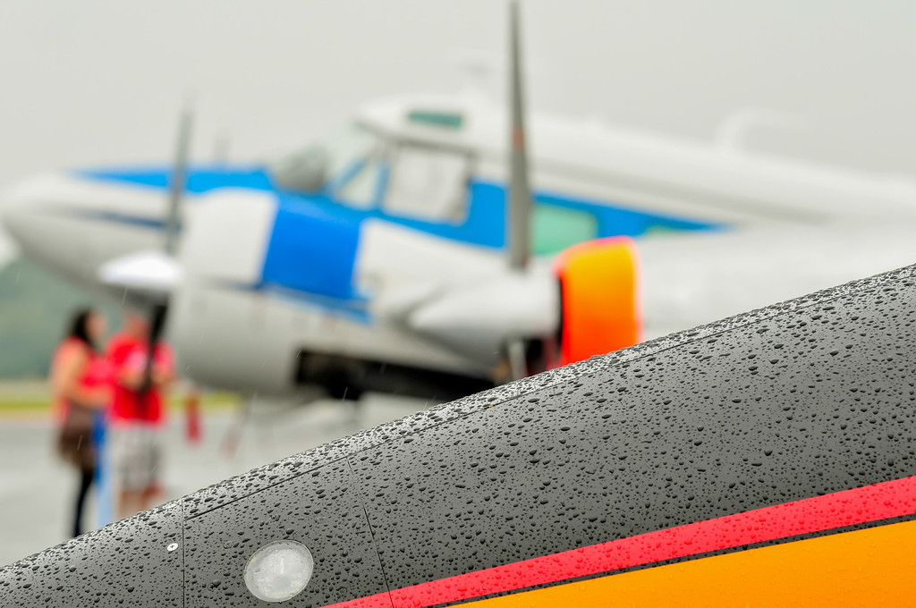 abstract view of airshow during a rain storm