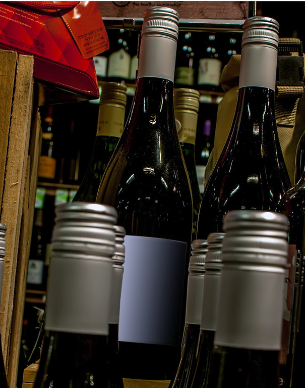 wine bottles on display at store