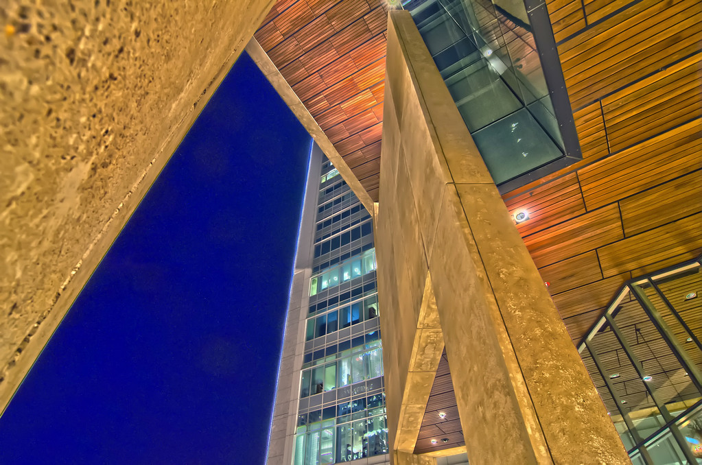 abstract architecture at night in a big city